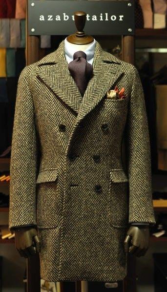 Tweed  Herringbone  DoubleBreasted  Coat  Jacket  Handkerchief  Preppy 7e467bbf88d