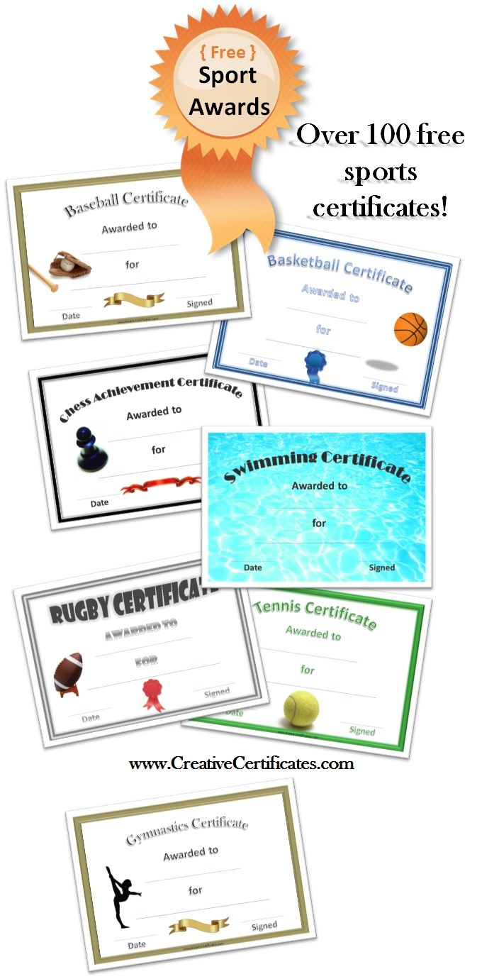 Free Printable Sport Certificates  Over  Available  All Free
