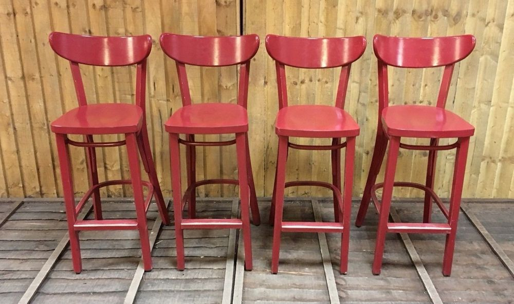 Groovy Set Of 4 Solid Wood Bar Stools Painted Red Pub Club Machost Co Dining Chair Design Ideas Machostcouk