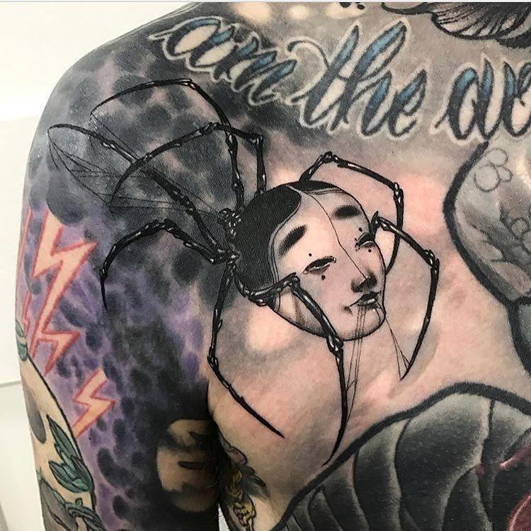 Tattoo Tattoos Guestspot Hello Brisbane Qld Australia Wh Spider Tattoo Japanese Mask Tattoos