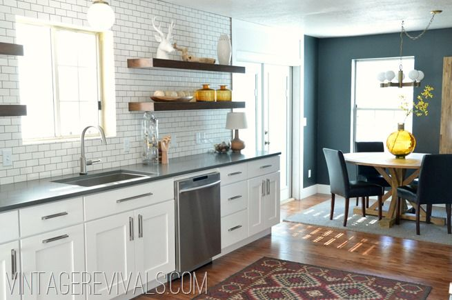 White Cabinets Open Shelving Black Wall Vintage Revivals