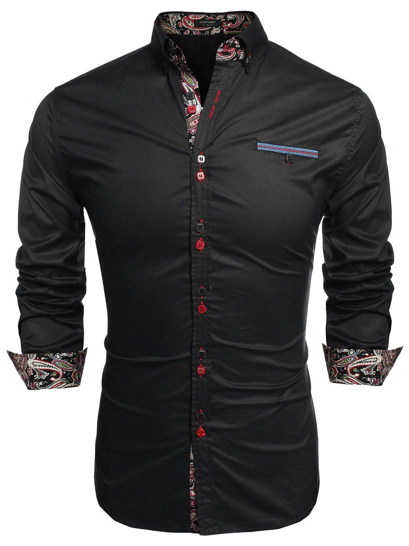 Coofandy Men's Fashion Slim Fit Dress Shirt Casual Exotic Shirt at ...