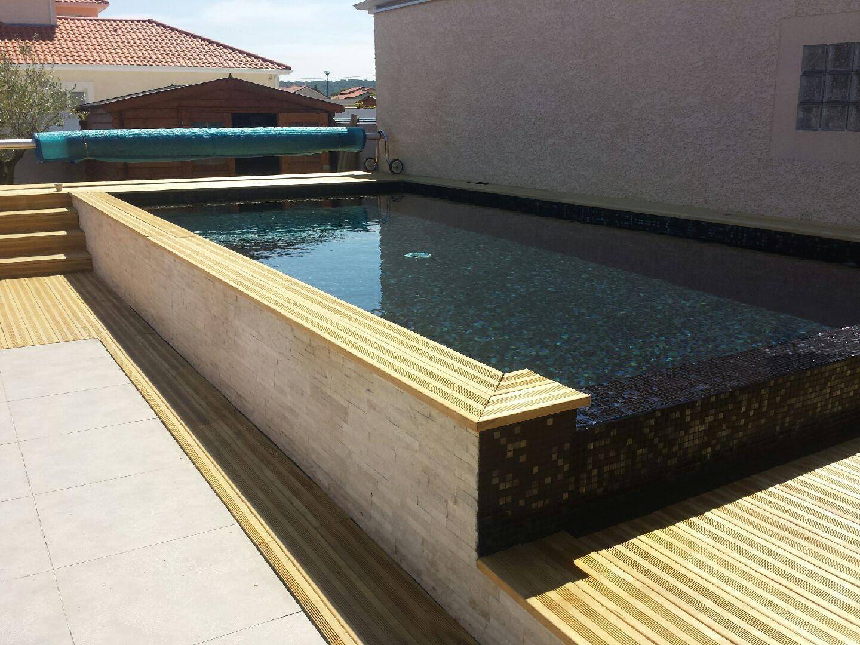 Carrelage mosaique piscine noir métallique en Pâtes de Verre Elena ...