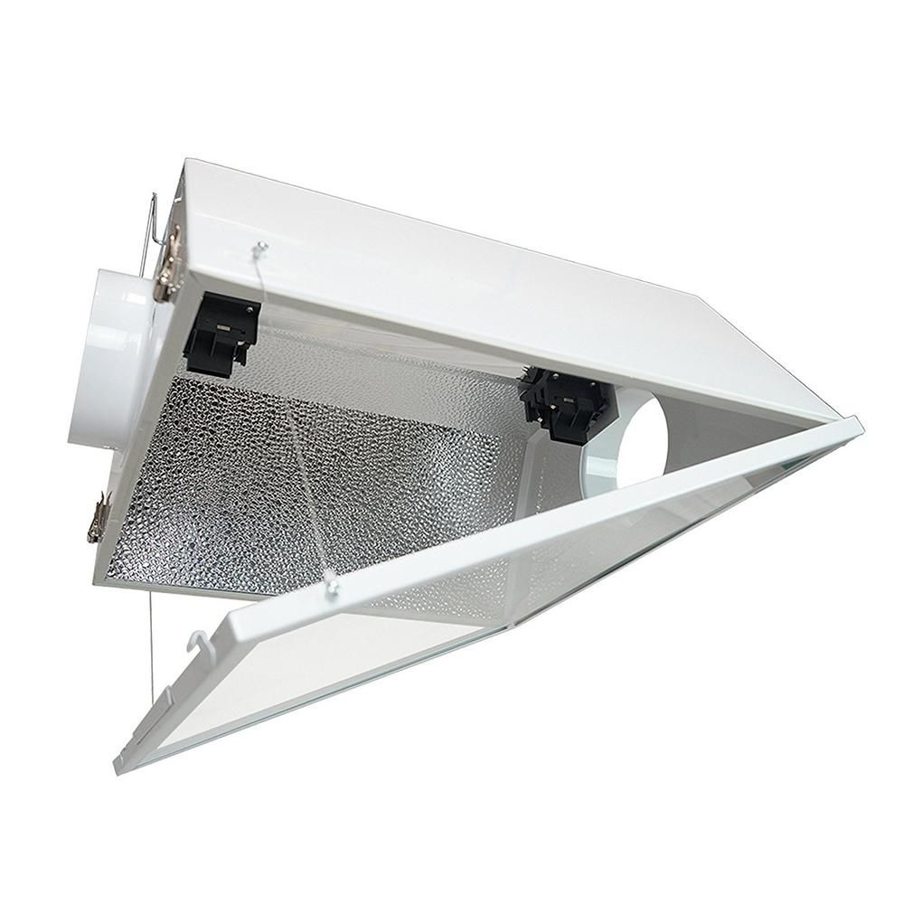 Hydro Crunch Double Ended Large Air Cooled With 6 In Duct And Glass Panel Grow Light Reflector For Up To 1000 Watt White Glass Panels Grow Lights Lamp Cord