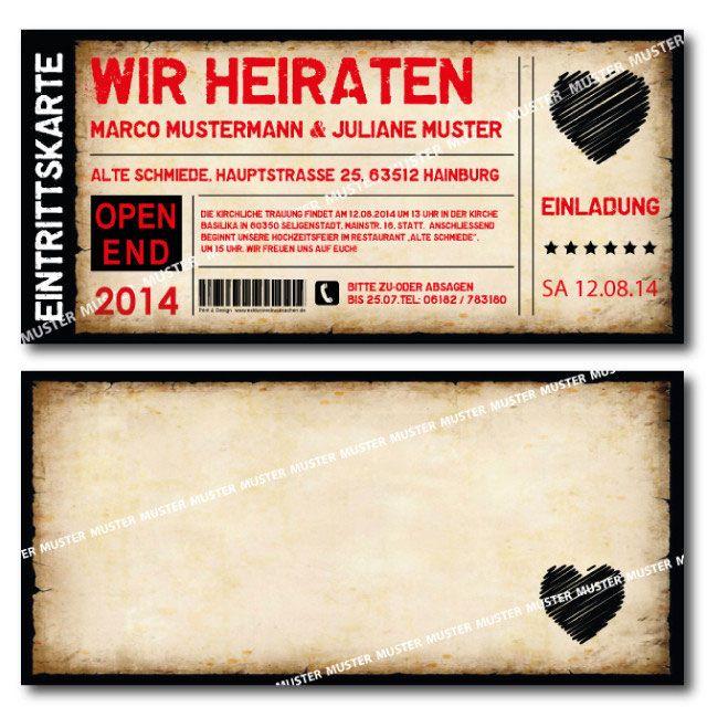 Einladungskarten Hochzeit Als Ticket Eintrittskarte Einladung Karte Vintage  Mit Abriss  Perforation