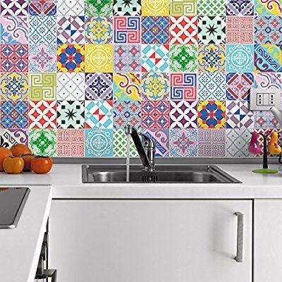 Aufkleber Fliesen Sticker Selbstklebend Fliesen Mosaik - Fliesen 10x10 bunt