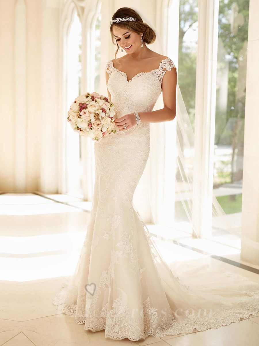 Semi capsleevesfitandflaresweetheartweddingdress for Lace fit and flare wedding dress with sleeves