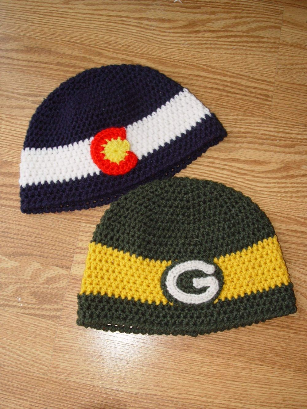 Changed The Colorado Pride Beanie Into A Green Bay Packer Hat For A Friend Of Mine Made From Acrylic Wor Green Bay Packers Hat Packers Hat Worsted Weight Yarn