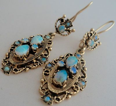 Estate Vintage Fine Natural Opal Chandelier Earrings 14k Yellow Gold Not S