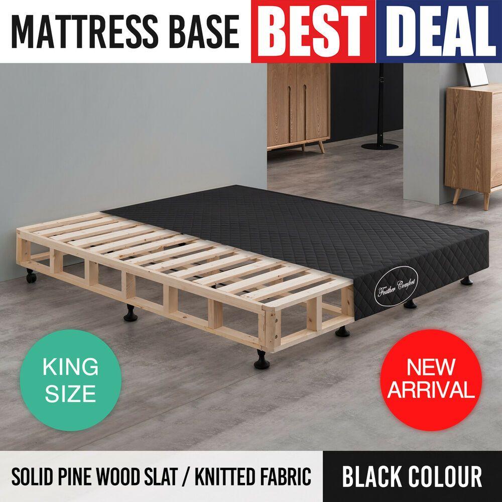 Mattress Bed Base King Black Fabric Kd Slat Pine Wooden Frame Ensemble Bedroom White Bed Frame Bed Base Frame Mattress Bases