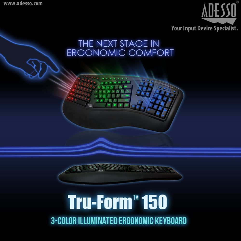 The Adesso® Tru-Form 150 - 3-Color Illuminated Ergonomic keyboard ...