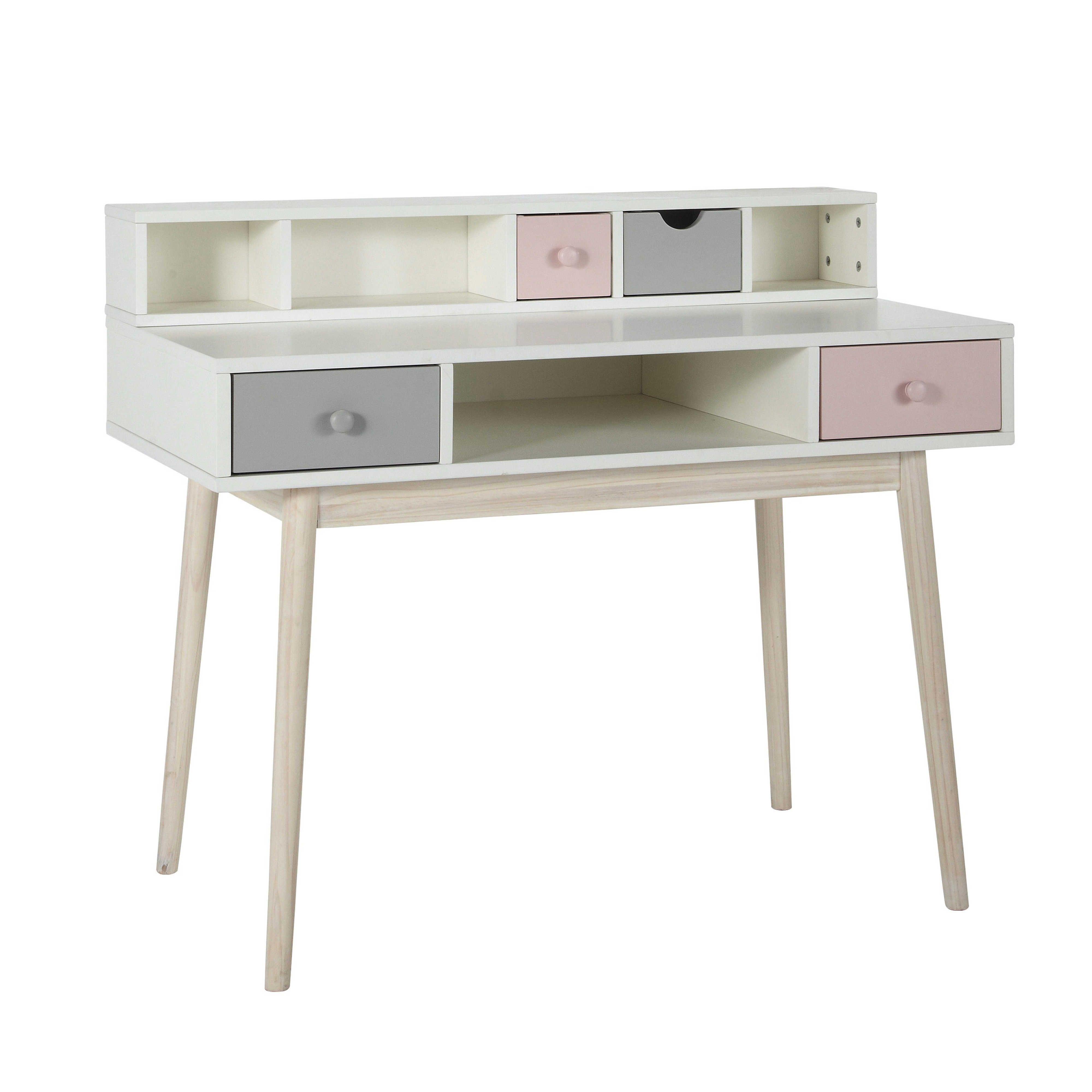 Module De Rangement Pour Bureau 2 Tiroirs Rose Et Gris Tiroirs Gris Rangement In 2020 Vintage White Desk Desks For Small Spaces Bedroom Desk