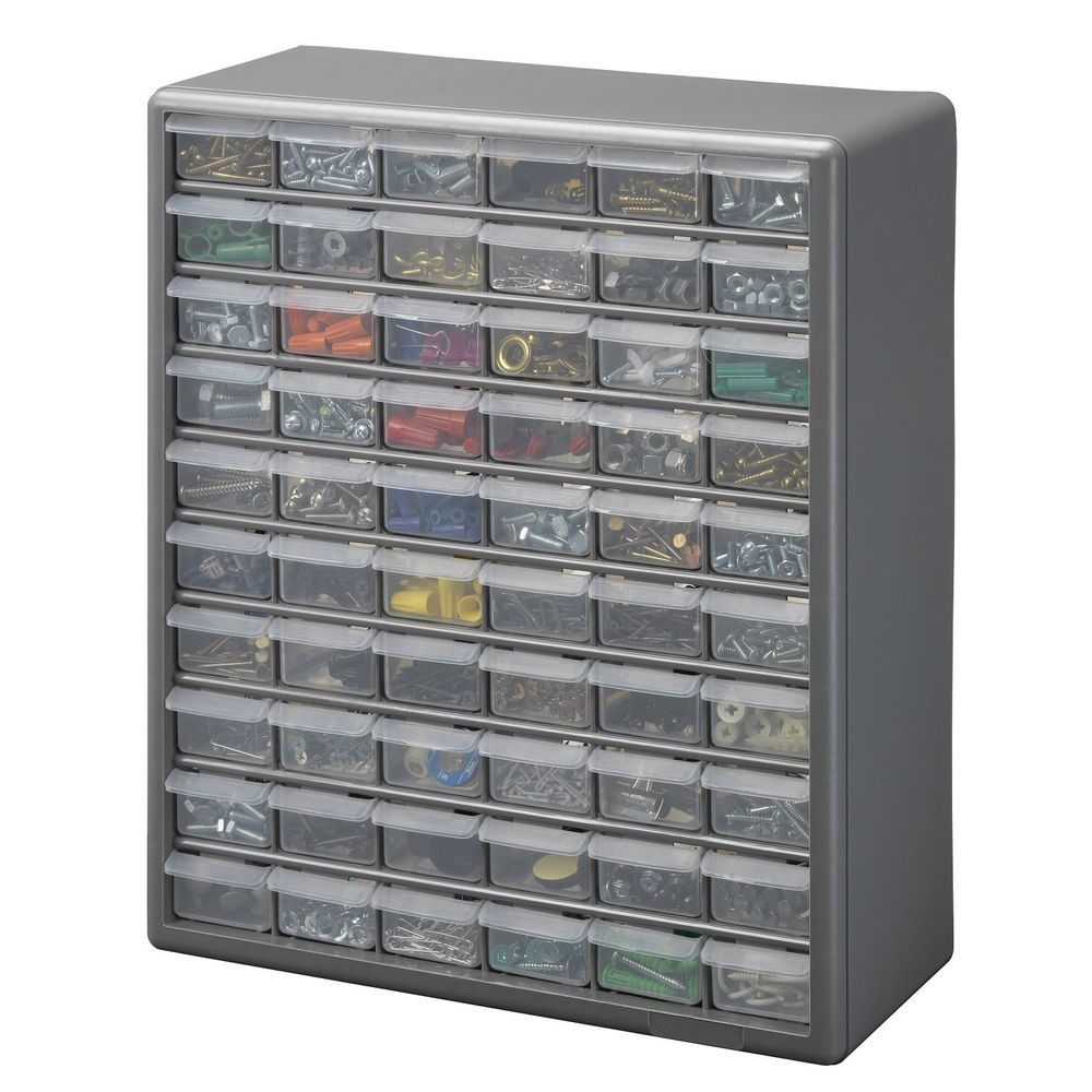 Storage Bin Cabinet 60 Drawer Small Parts Storage Cabinet Hardware Craft Tools Garage