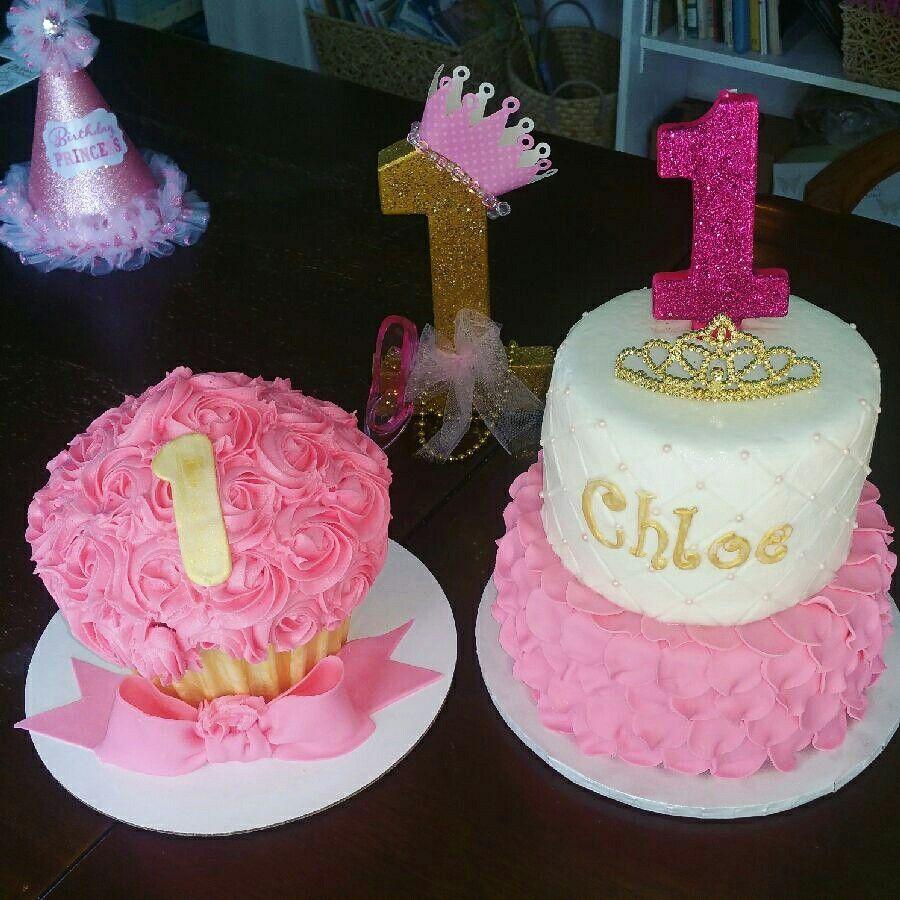 Stupendous Pink And Gold Princess First Birthday Princess Cupcake Cake Funny Birthday Cards Online Inifodamsfinfo