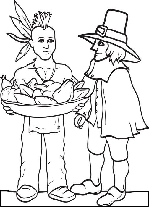 pilgrim indian thanksgiving coloring pages - photo#12