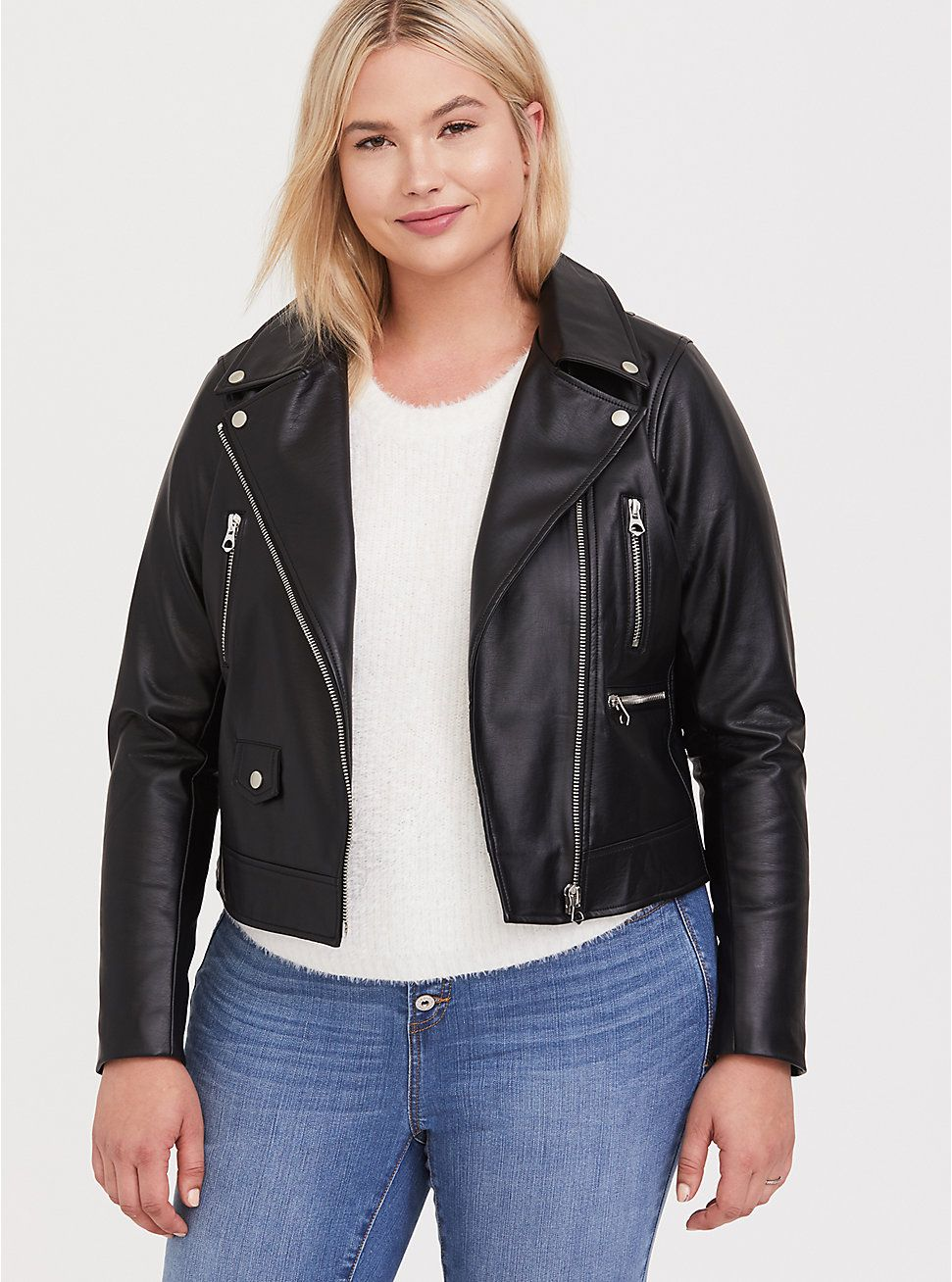 Black Faux Leather Moto Jacket (With images) Black faux