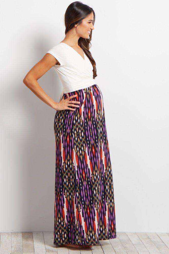 76f7641ed0cab Ivory Printed Bottom Draped Maternity/Nursing Maxi Dress | Maternity ...