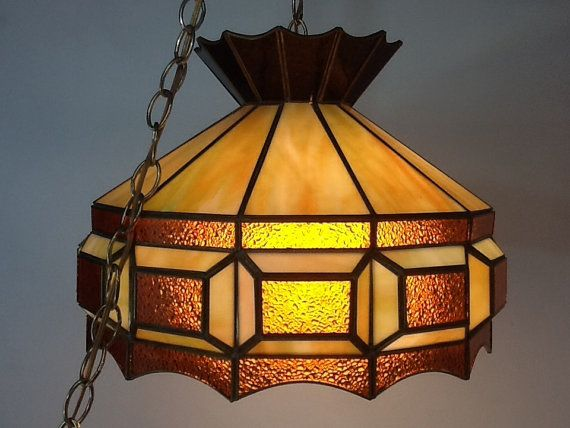 Vintage Stained Glass Swag Light Pendant Light Swag Lamp Stained Glass Lamps Swag Light