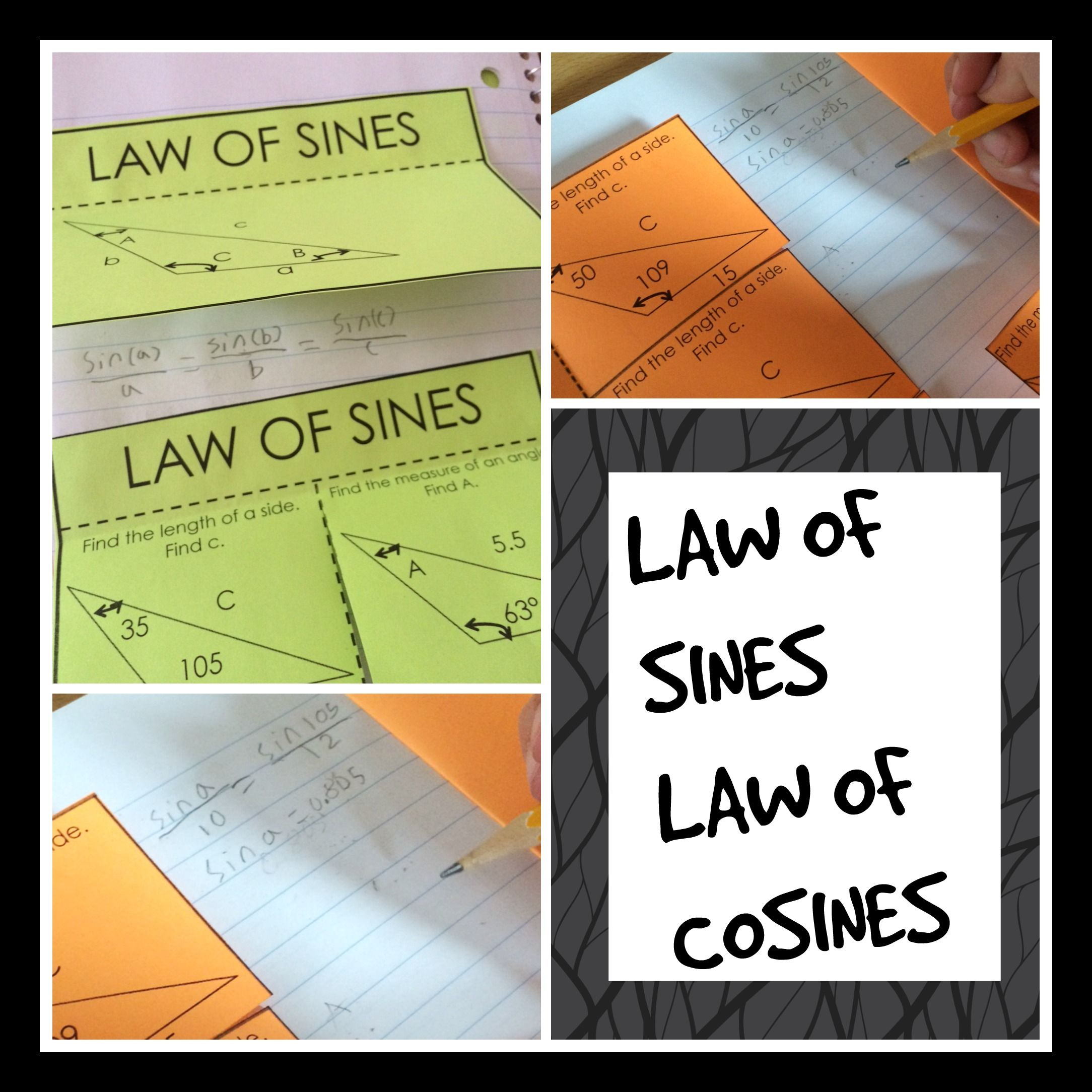 Law Of Sines And Cosines Color Coded Interactive Notebook