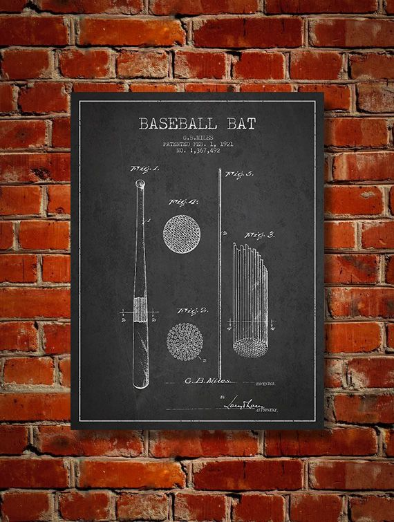 1921 Baseball Bat Patent Art Decor Drawing. Available as poster or canvas in various colors. #decor #inventions #patents #interiordesign