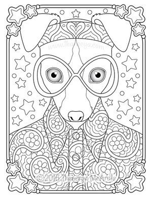 Hippie Animals Coloring Page By Thaneeya Mcardle Animal Coloring Pages Coloring Pages Dog Coloring Page