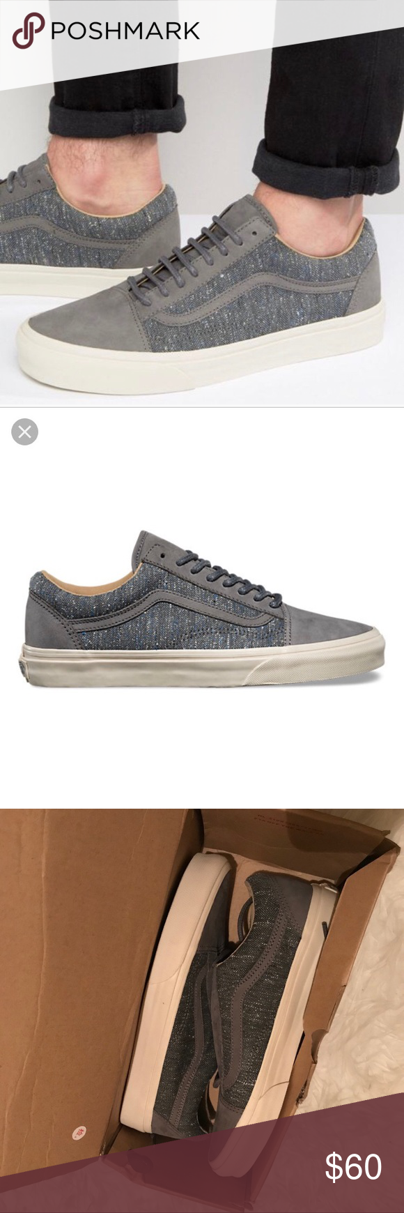 VANS - tweed old Skool gray fashion sneakers UNISEX MENS SIZE 7.5 WOMENS  SIZE 9 Tweed Old Skool vans Off white sole New in box   with tags Vans Shoes  ... 56fb19121