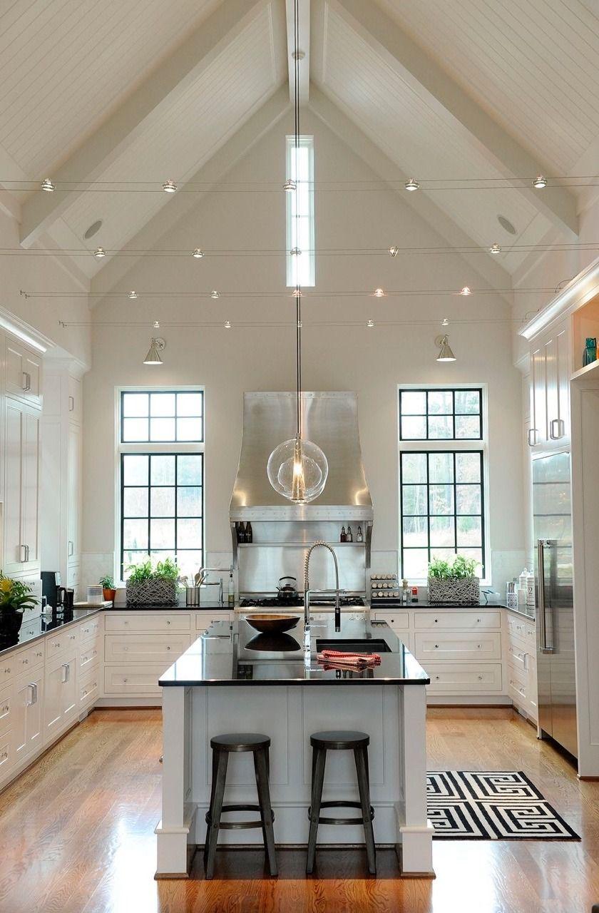 """your justlucynaround """"White kitchen, wood floors, accent lighting ..."""