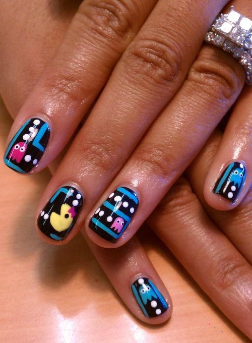 If you are still feeling inspired and want to pay a little homage to Ms. Pac Man may I suggest painting your nails. Every time you catch a glimpse of your nails with Ms. Pac Man's face you will be reminded to be strong. If Ms. Pac Man can take on her ghosts you can too.