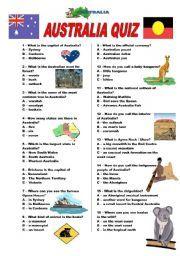 English Worksheet Australia Quiz