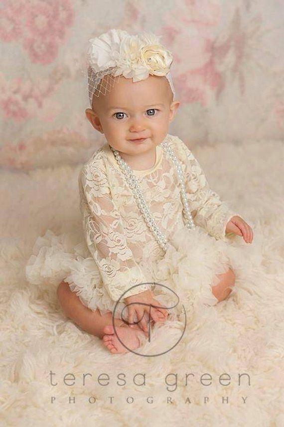 Shabby Lace Baby Headband - Lace Headband - Baby Headband- ivory headband-  rustic headband- flower g 6d6113d884a