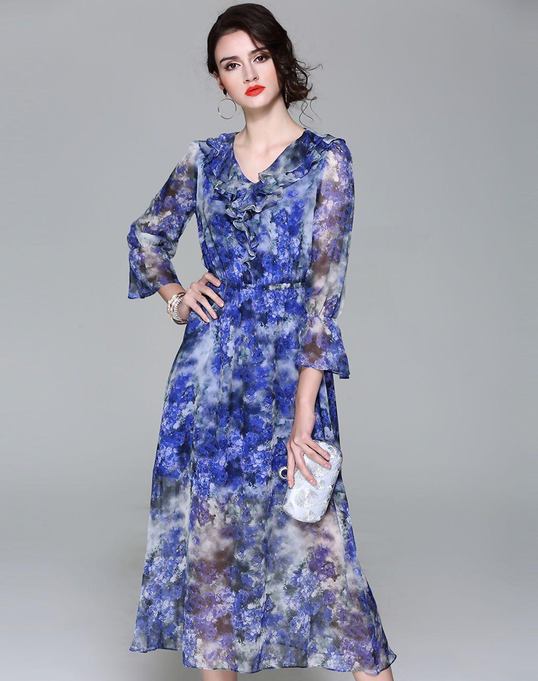Adorewe vipme aline dresses viva vena blue silk v neck bell
