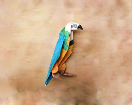 Попугай оригами
