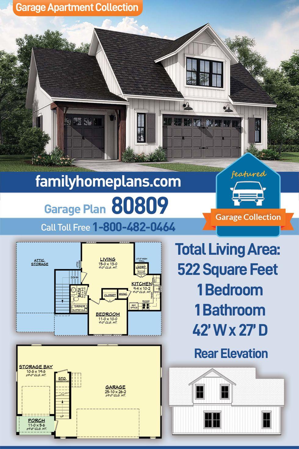 Farmhouse Style 3 Car Garage Apartment Plan Number 80809 With 1 Bed 1 Bath Garage Apartment Plan Garage Apartments House Plans Farmhouse