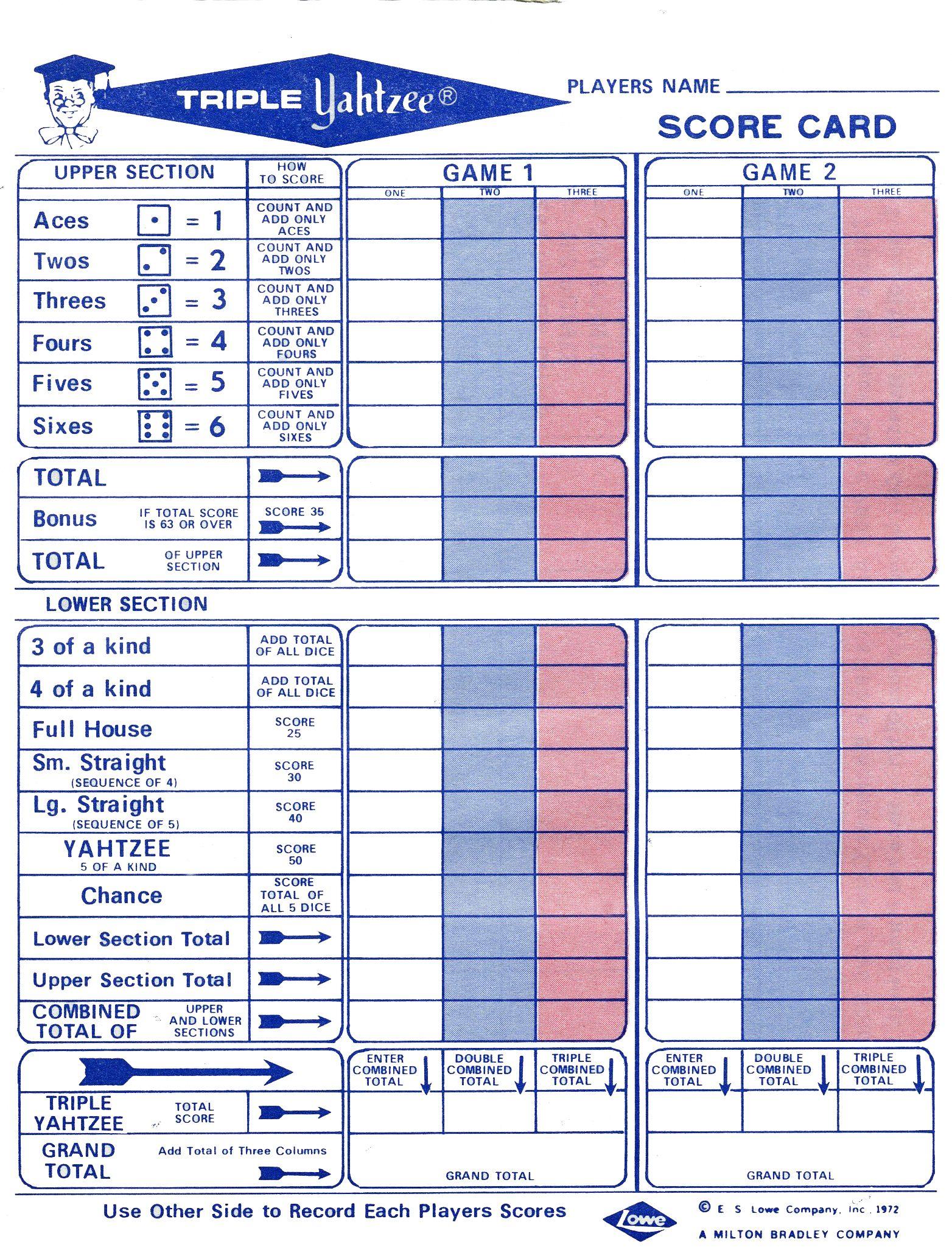 Template Triple Yahtzee Score Sheet Big Print Triple Yahtzee