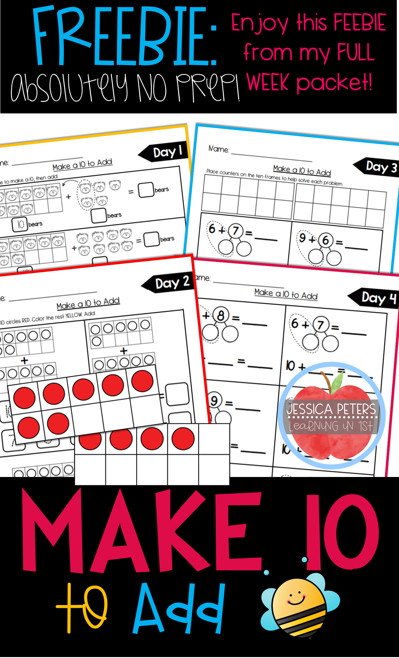 Freebie First Grade Math Make 10 To Add Full Week