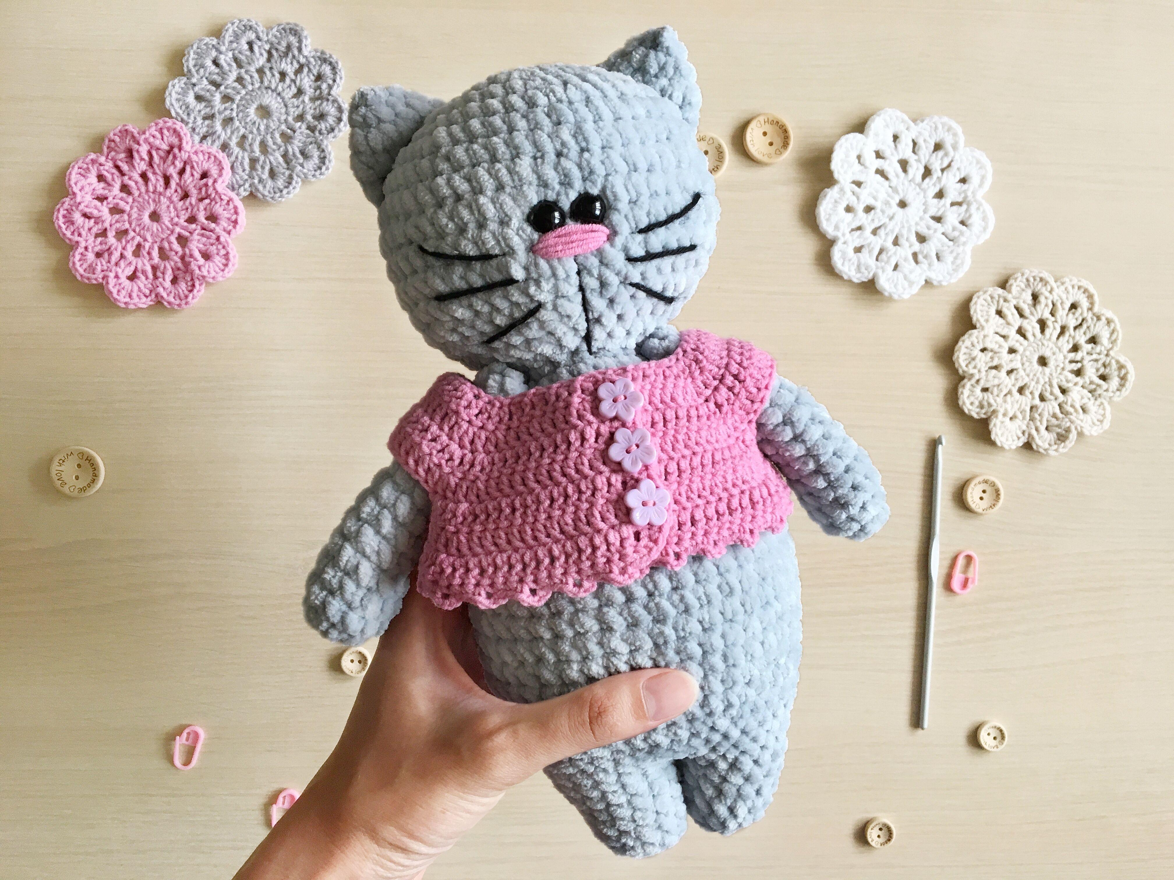 Crochet gray cat in a pink dress, Cute plush kitty toy