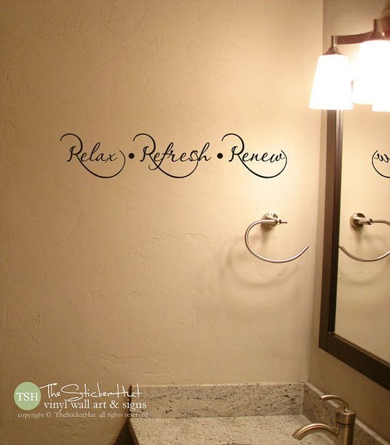 Relax Refresh Renew Bathroom Sayings Quote Vinyl Lettering Wall ...