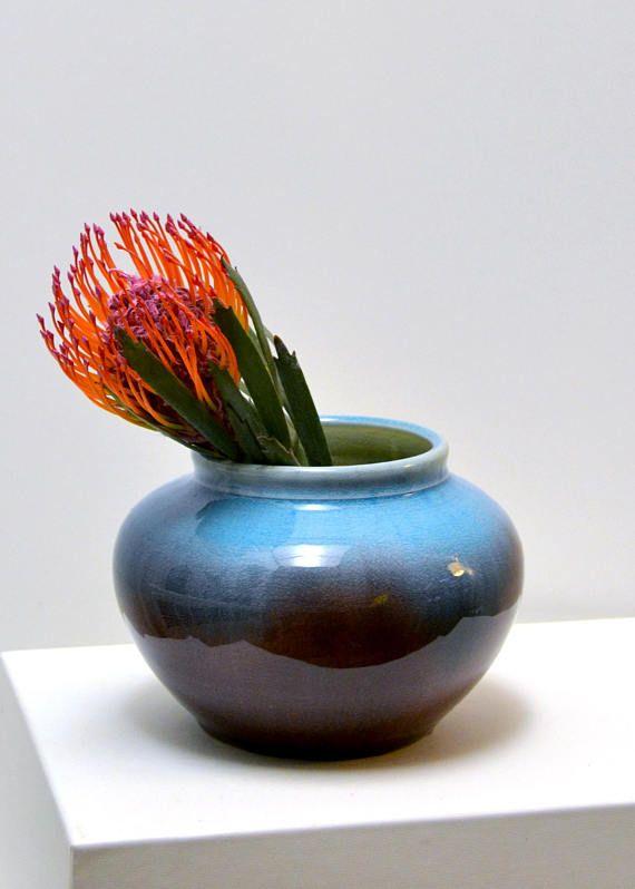 Vintage Pisgah Forest Pottery Ombr Glazed Ceramic Vase Handthrown