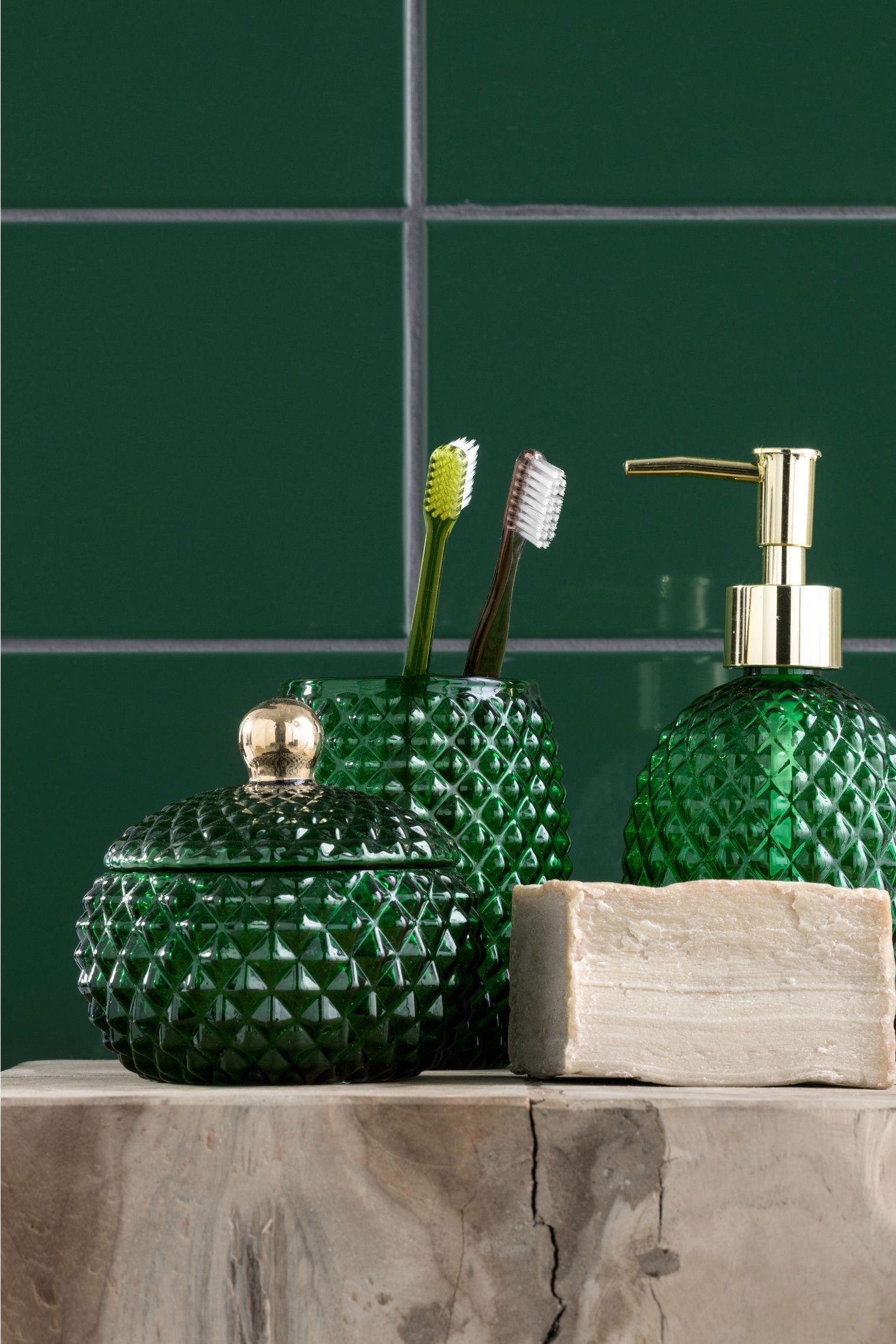 Pdp Green Bathroom Accessories Glass Soap Dispenser Green Bathroom