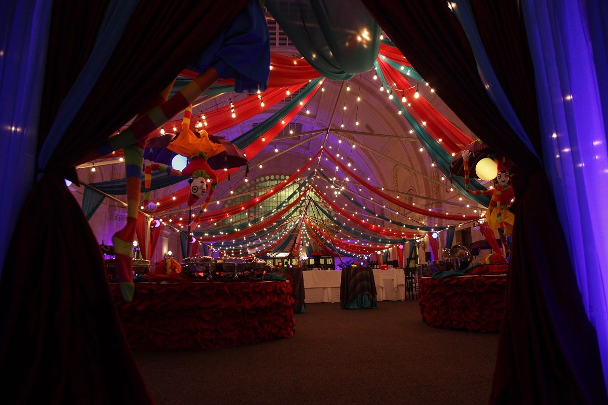Draping Creates A Dramatic Entrance To This Carnival