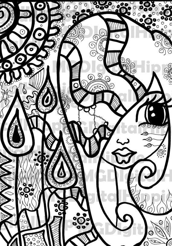Printable Coloring Page Adult Coloring book for grown ups Digital ...
