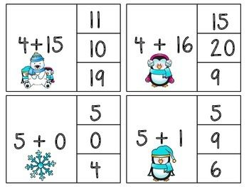 WINTER! ADDITION CLIP CARDS! - TeachersPayTeachers.com