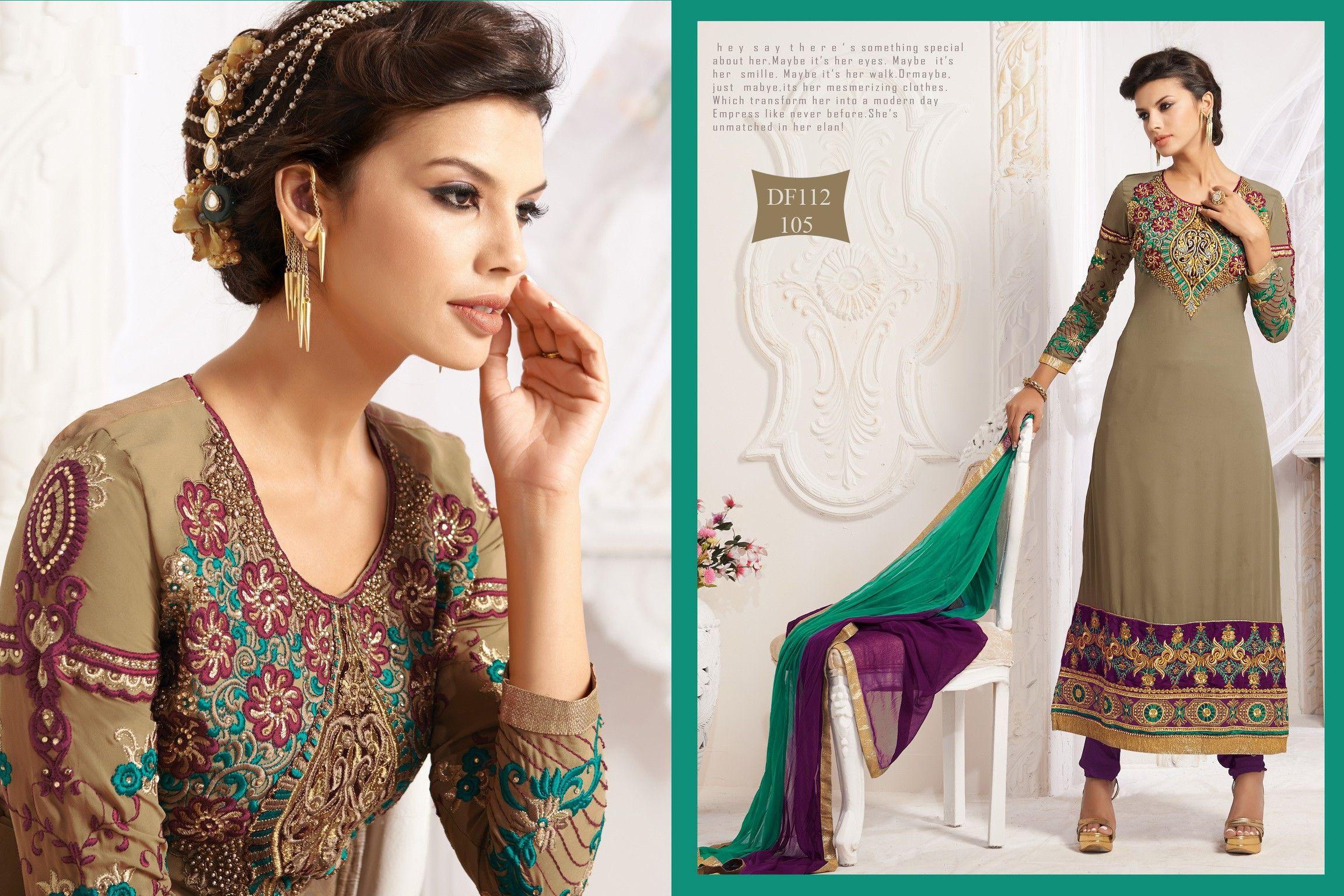Lovely brown long straight designer salwarkameez with discount
