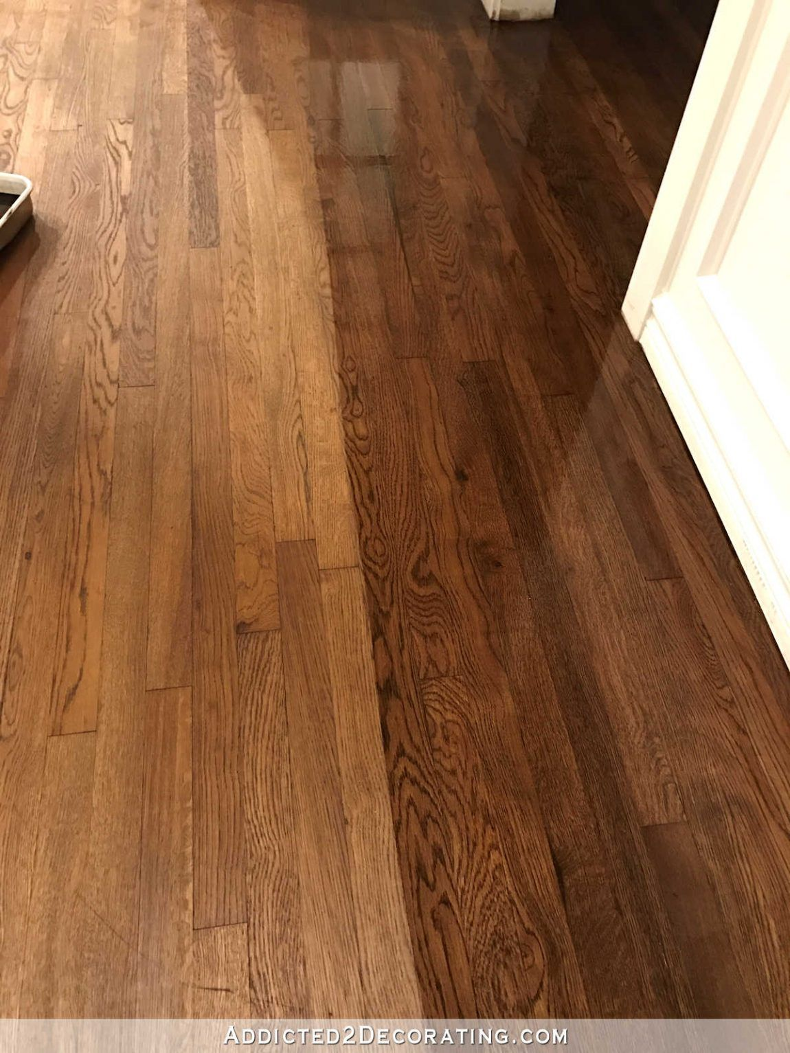 The Hardwood Floor Refinishing Adventure Continues Tip For Getting A Gorgeous Finish Addicted 2 Decorating Oak Hardwood Flooring Red Oak Hardwood Floors Hardwood Floors Dark