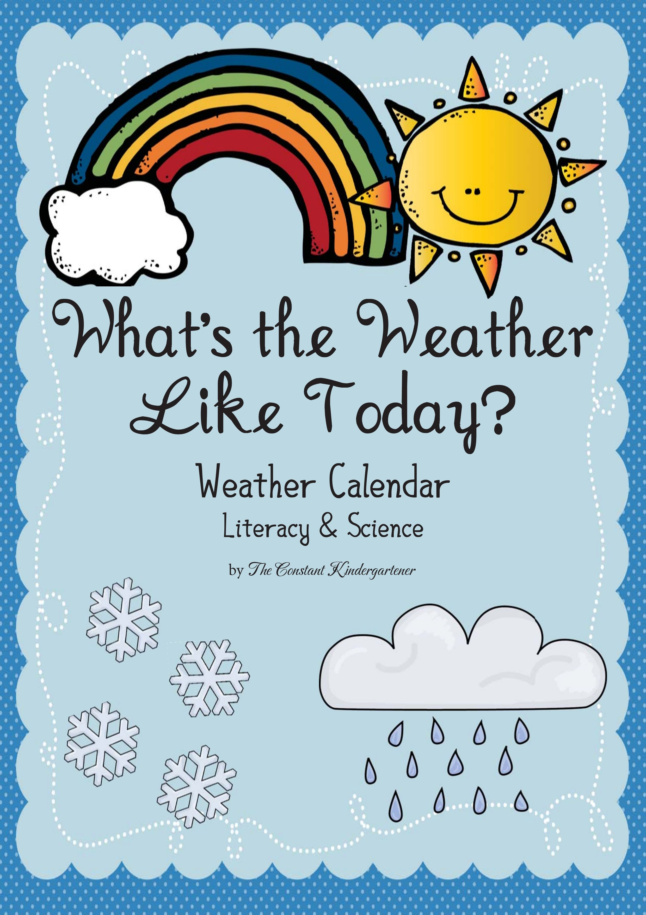 Weather Classroom Calendar Pre K And Kindergarten
