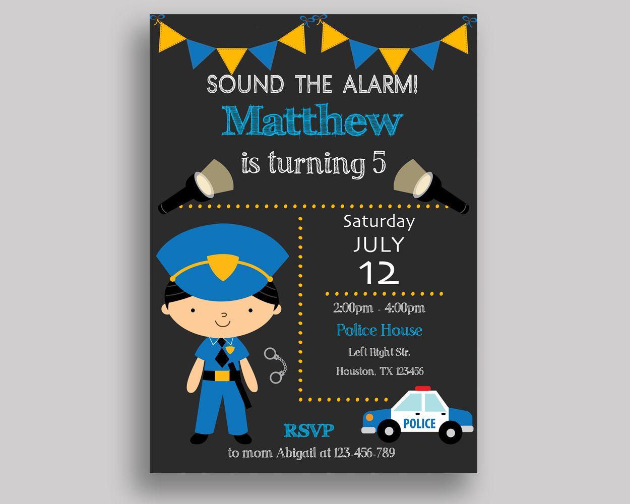 Police Birthday Invitation Party Boy Freeze Law And Order 9R2G3 BirthdayInvitations