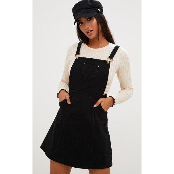 Martine Black Denim Pinafore Dress 210 Hkd Liked On Polyvore