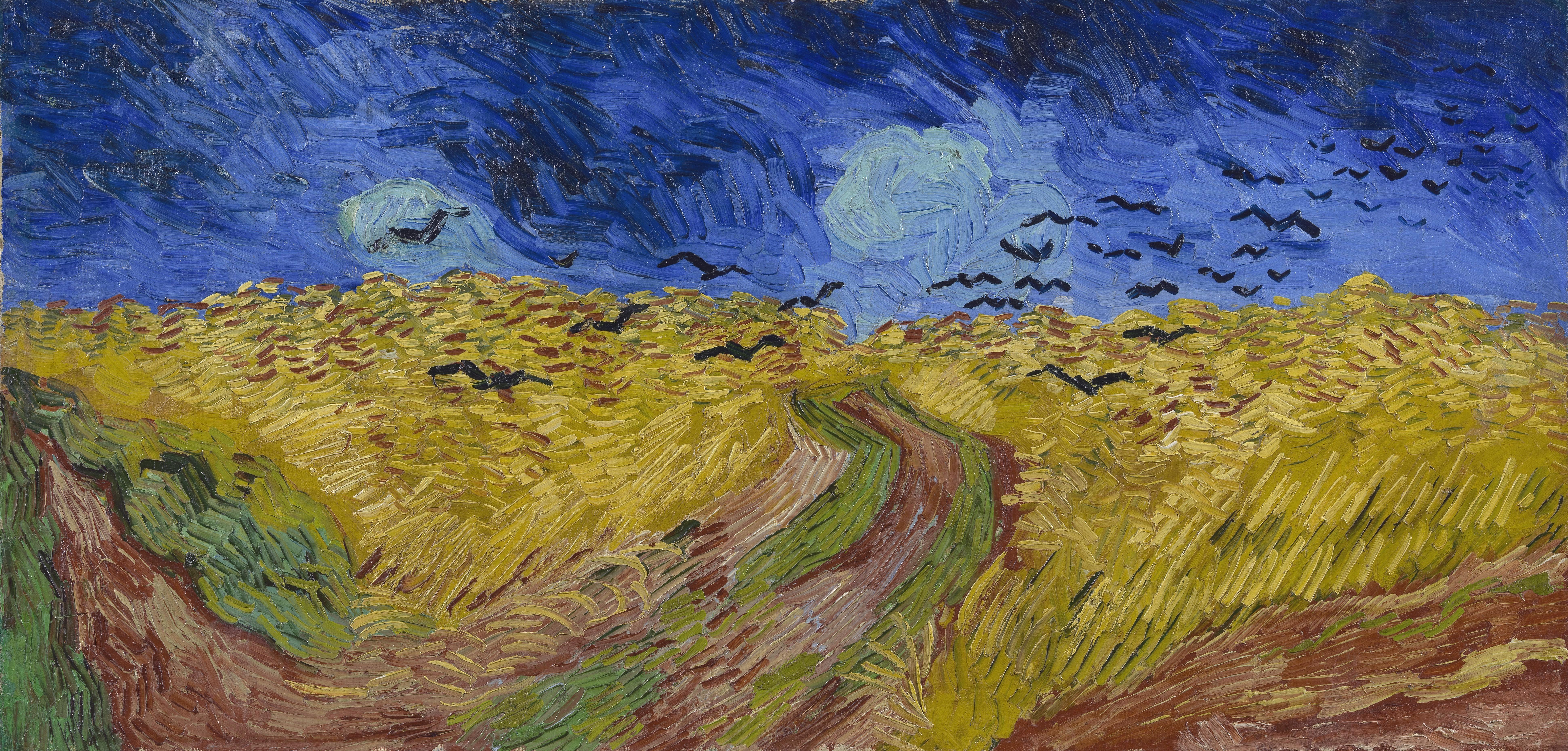 Wheatfield With Crows 1890 Van Gogh Art Vincent Van Gogh Paintings Van Gogh Paintings