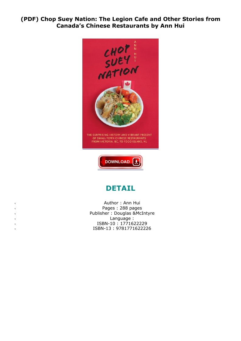 Read Chop Suey Nation The Legion Cafe And Other Stories From Canada S Chinese Restaurants Ebook Free Unlimited Downloa In 2020 Chinese Restaurant Chop Suey Publishing