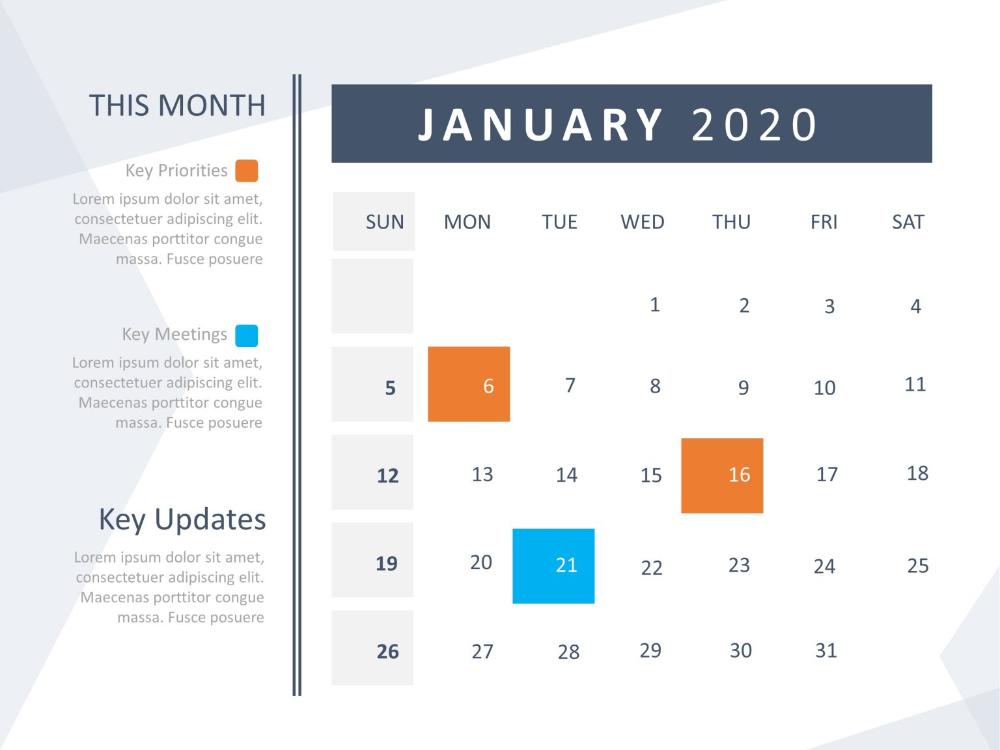 Calendar Powerpoint 2020 Powerpoint Templates Calendar Template Powerpoint